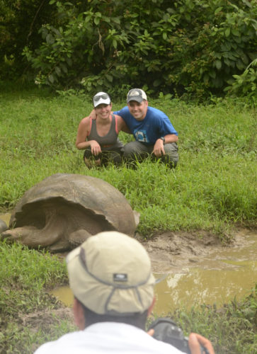 Tourists posing with a Wild Tortoise