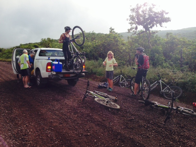 Unloading Bikes from a Galapagos Taxi