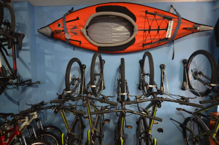 Some bikes and kayaks for rent