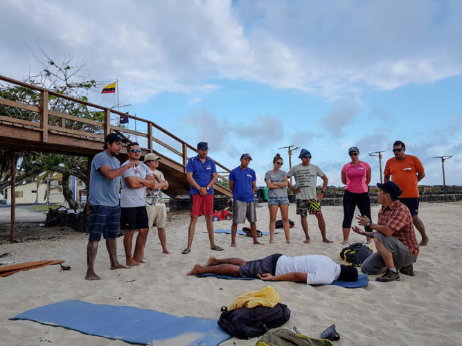 Class on the Beach - Advanced First Aid Training in the Galapagos
